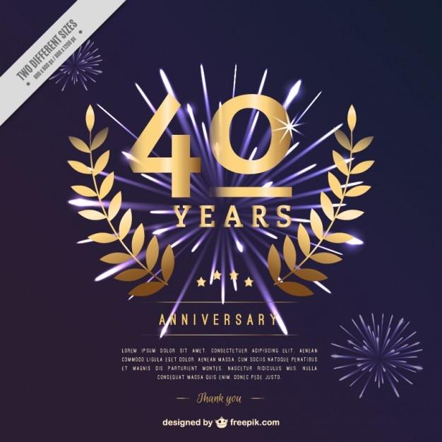 Сороковая годовщина с лавровыми украшениями Бесплатные векторы