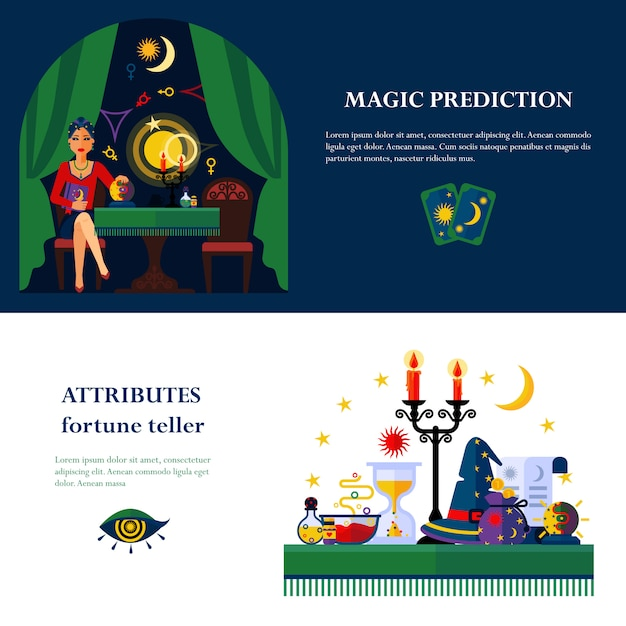 Fortune teller attributes 2 flat banners Free Vector