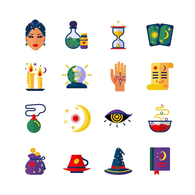 Fortune teller attributes flat icons set Free Vector