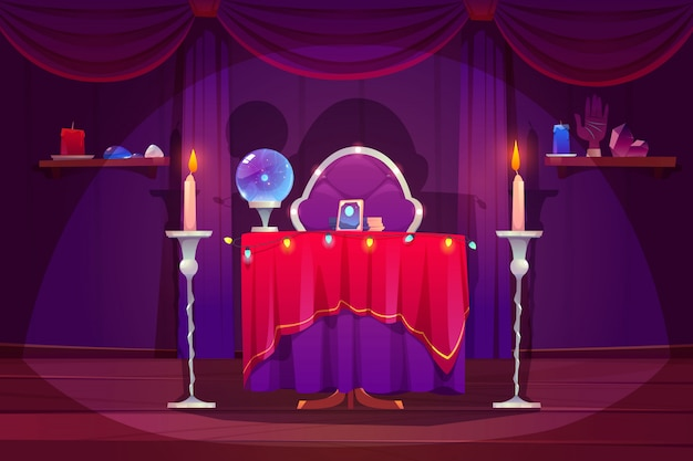 Fortune teller room with magic ball, tarot cards Free Vector