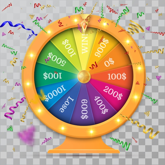 Fortune of wheel and confetti. Premium Vector