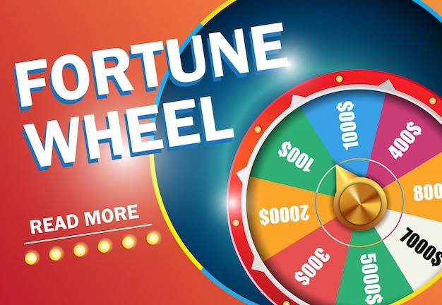 Fortune wheel read more lettering on red background. casino business advertising Free Vector