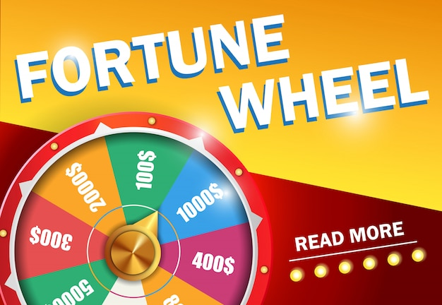 Fortune wheel read more lettering on red and yellow background. Free Vector