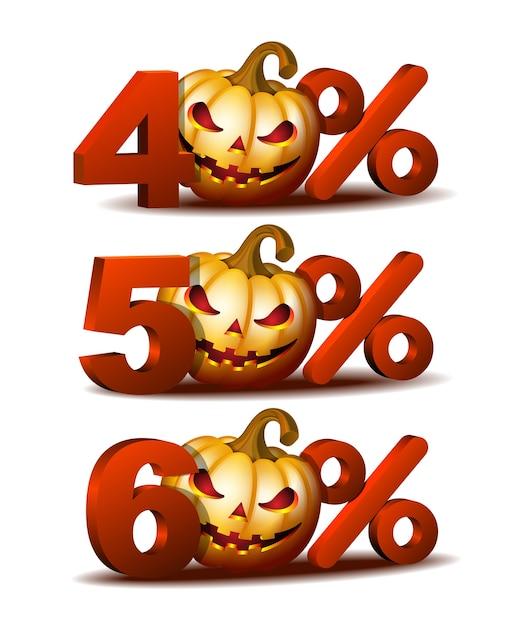 怖いジャックoランタンのハロウィーンのカボチャと40、50、60パーセントの割引アイコン Premiumベクター