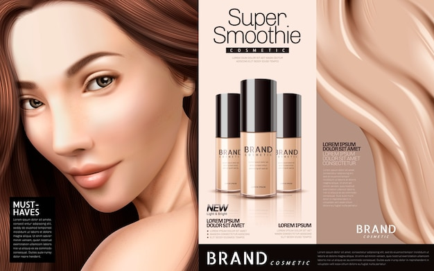 Foundation cosmetic ads illustration Premium Vector