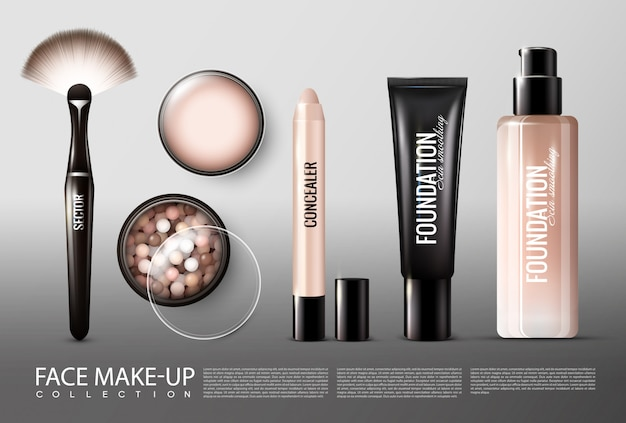 Foundation cosmetology products collection Free Vector