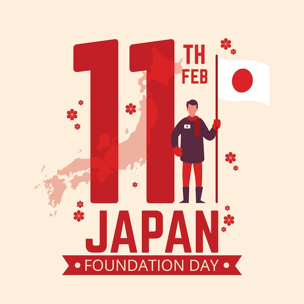 Foundation day japan man holding flag Free Vector