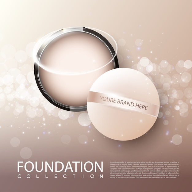 Foundation female cosmetic product ads poster Free Vector