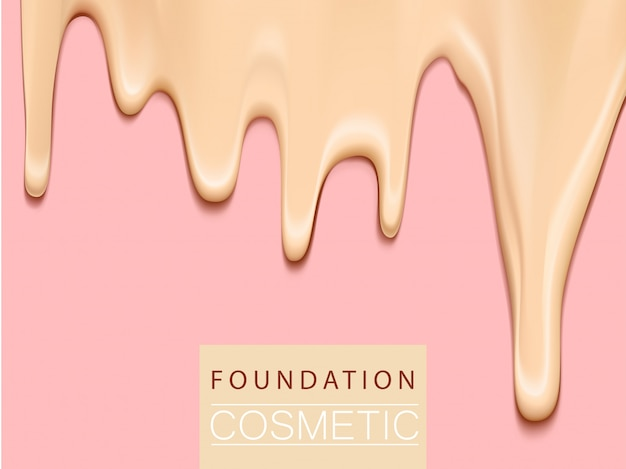 Foundation liquid texture, creamy skin tone foundation in 3d illustration, extreme close up look Premium Vector