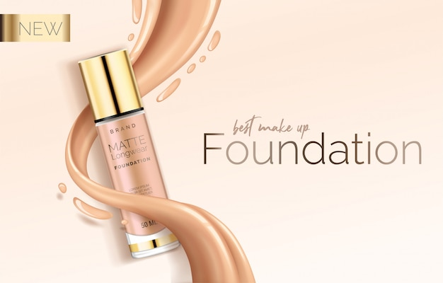 Foundation makeup, advertising design template for catalog with concealer, bb cream packaging tube Premium Vector