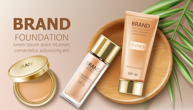 Foundation and primer bottles in beige color Free Vector