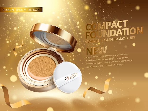 Foundation product ad with glittering dusts fills the air Premium Vector