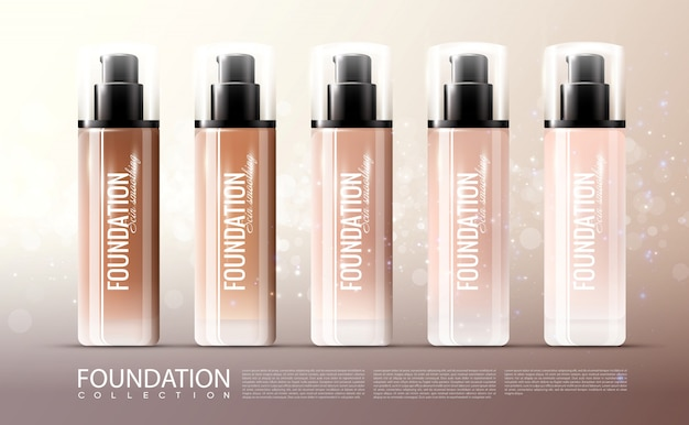 Foundation skin treatment realistic template Free Vector