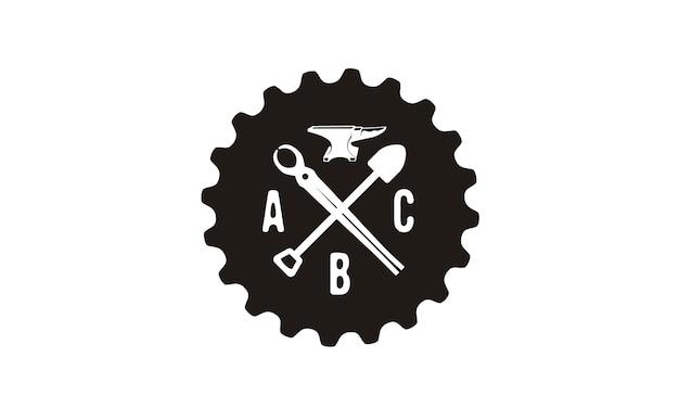 Foundry emblem retro logo design inspiration Vector