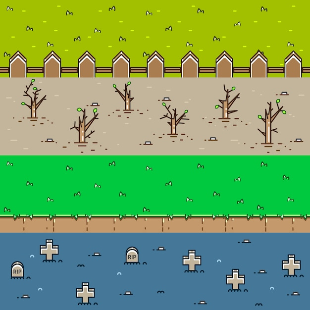 Four 3d backgrounds for creating video games Premium Vector