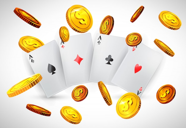 Four aces and flying golden coins. casino business advertising Free Vector