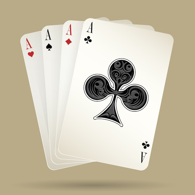 Four aces playing cards suit on the beige background, winning poker hand. vector illustration Premium Vector