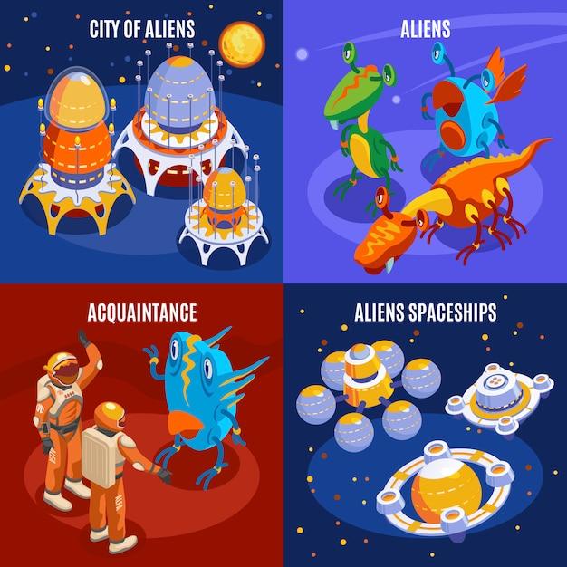 エイリアンの知り合いと宇宙船の説明図と4つのエイリアン等尺性組成物 無料ベクター
