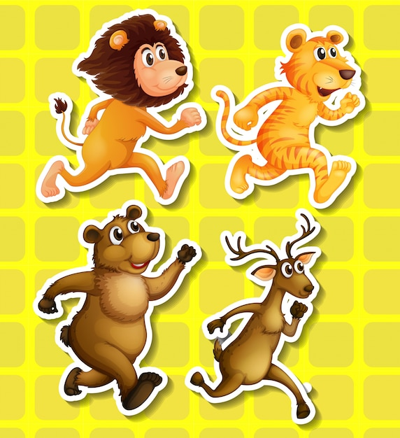 Four animals running on yellow\ background
