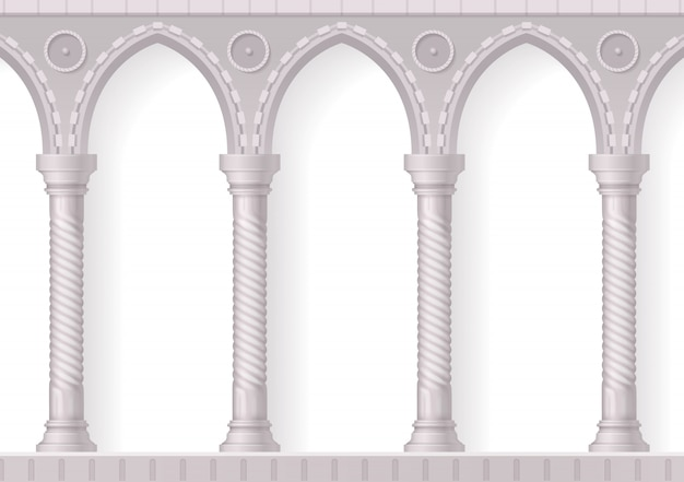 Four antique white columns realistic 3d composition with ribbing on white Free Vector
