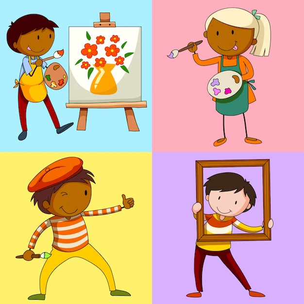 Four artists painting picture Free Vector
