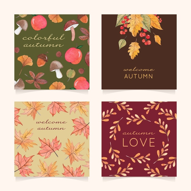 Four autumn card with leaves, berries and mushrooms Premium Vector