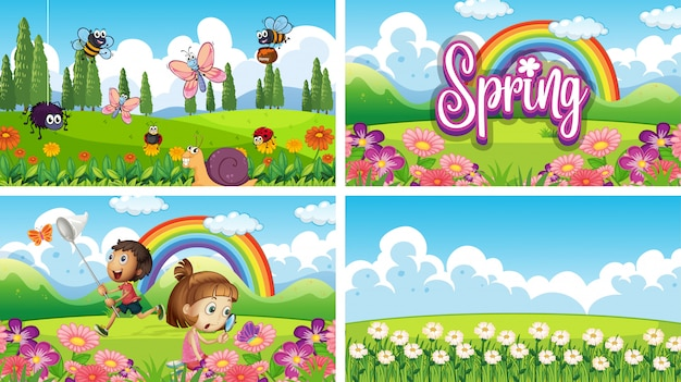 Four background scenes with children and animals in the park Free Vector