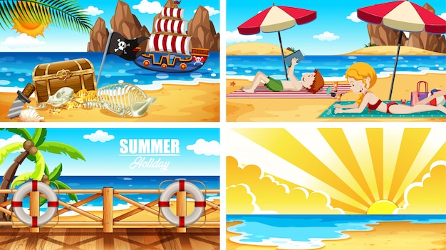 Four background scenes with people on the beach Free Vector