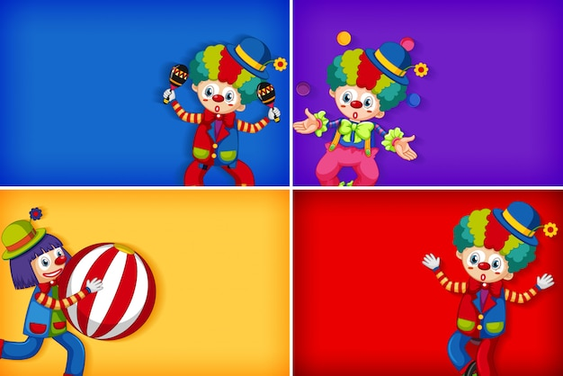 Four background template designs with happy clown Free Vector