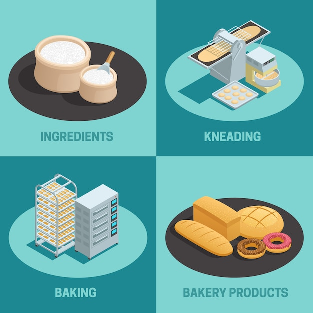 Four bakery factory isometric icon set Free Vector