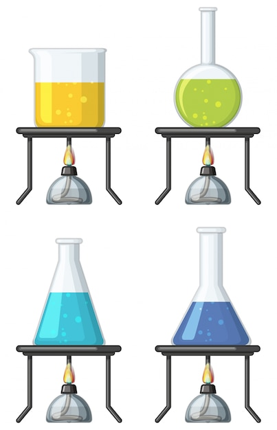 Four beakers with colorful liquid Free Vector