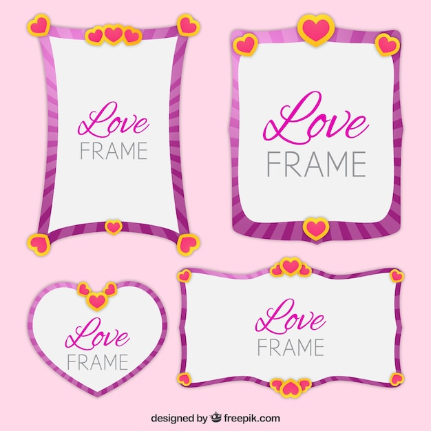 Four beautiful love frames Vector | Free Download