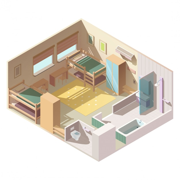 Four-bed room in school camp isometric vector Free Vector