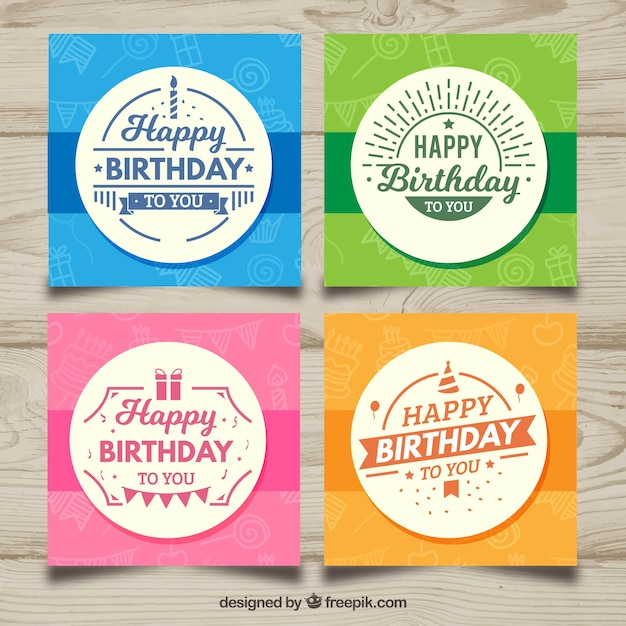 Four Birthday Cards In Different Colors Vector Free Download