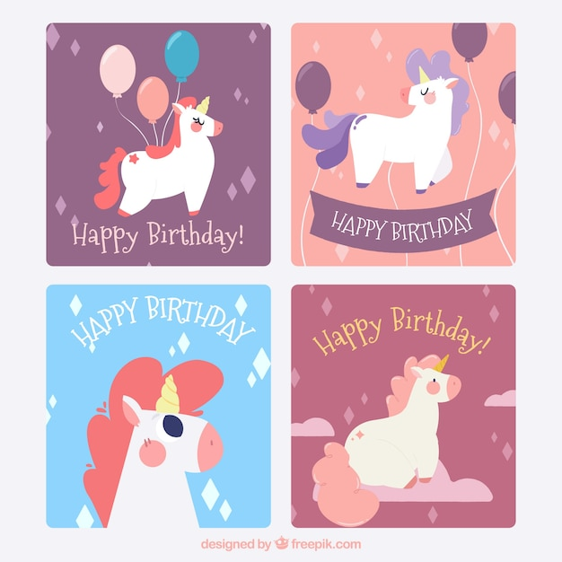 Four Birthday Cards With Funny Unicorns Vector