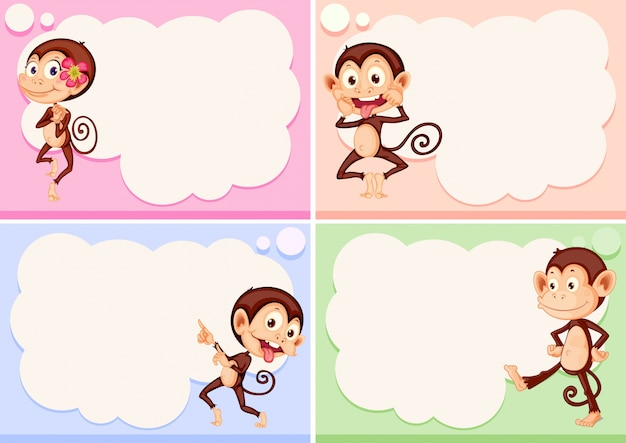 Four Border Templates With Cute Monkeys Vector Free Download