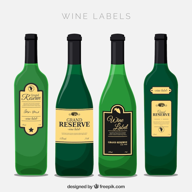 Four bottle of wine with decorative\ labels