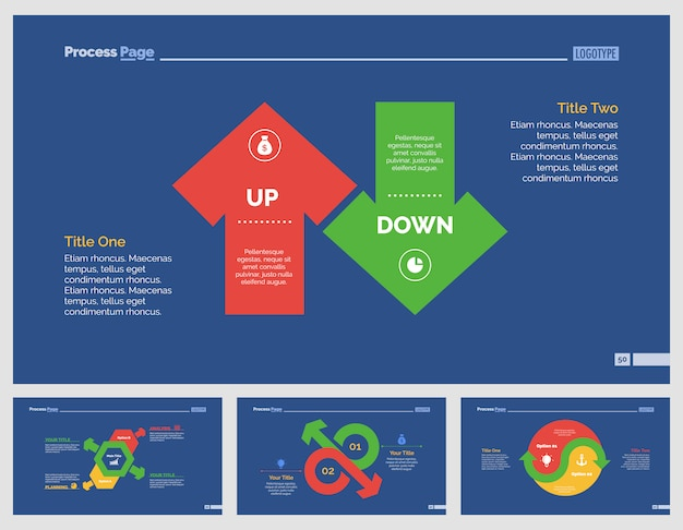 Four Business Slide Templates Set Premium Vector