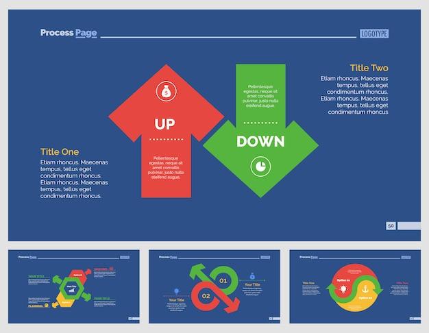 Four Business Slide Templates Set Premium Vector