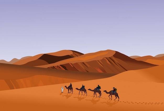 Four camel riders are hiking in the hot sun in the desert with sand mountain background. Premium Vector