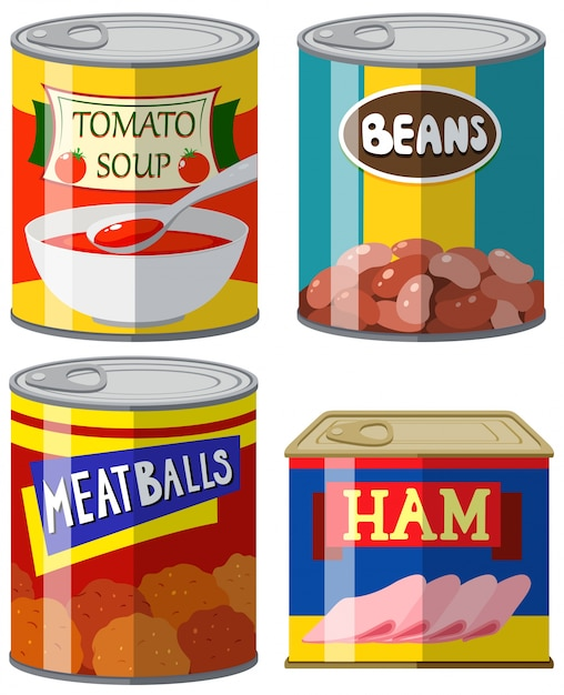 Four canned food on white background illustration Free Vector