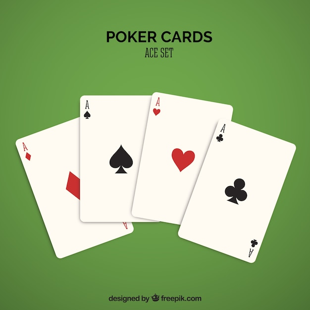 Four casino cards in red and black Free Vector