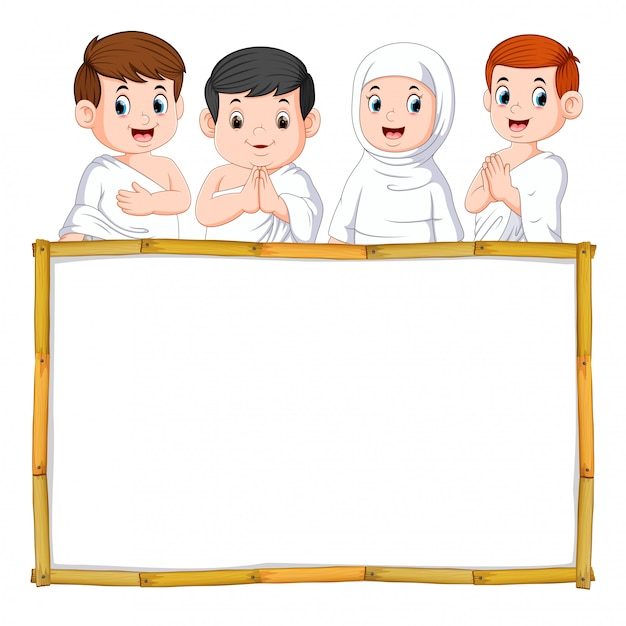 The four children are using the white cloth above the wooden frame Premium Vector