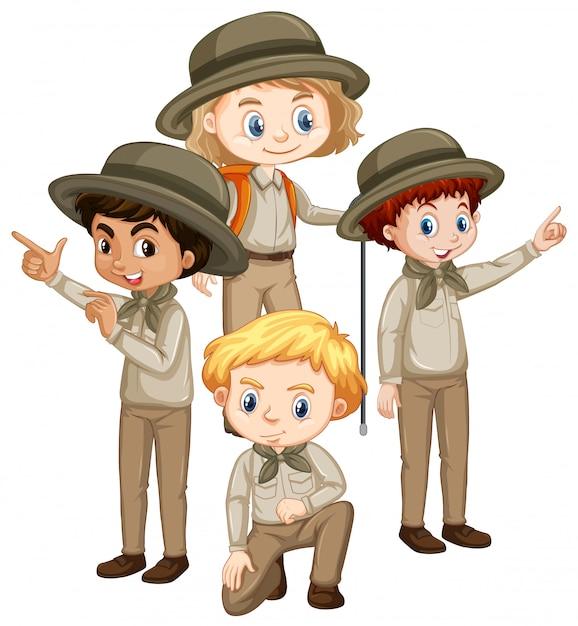 Four children in brown uniform Free Vector