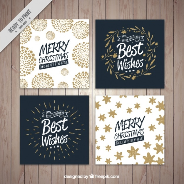 Four christmas card collection Free Vector
