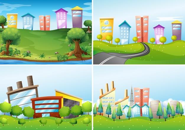 four city scenes Free Vector