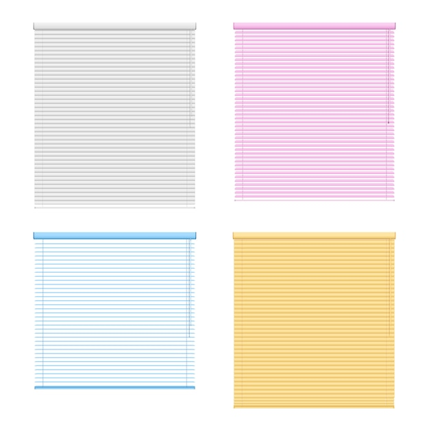 Four colored window roller shutters set Free Vector
