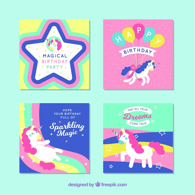 Four Colorful Birthday Cards With Unicorns Stock Images Page