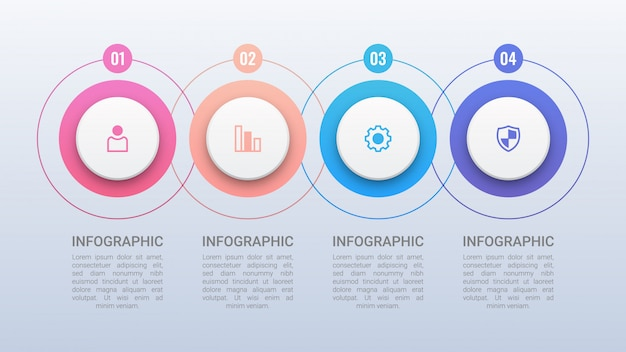 Four colorful circles infographic template Premium Vector