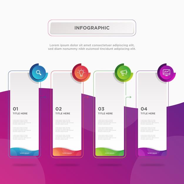 Four colorful rectangular infographic element design template Premium Vector